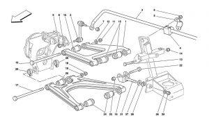 F355 - 5.2 - Table 51 - Rear Suspension - Wishbones